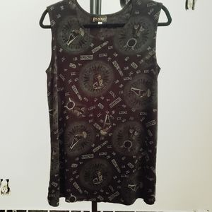 Vintage Y2K Black Egyptian Print Tank Top